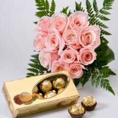 Image of Pink Roses and Chocolates
