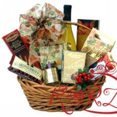 Image of Basket with white wine gourmet